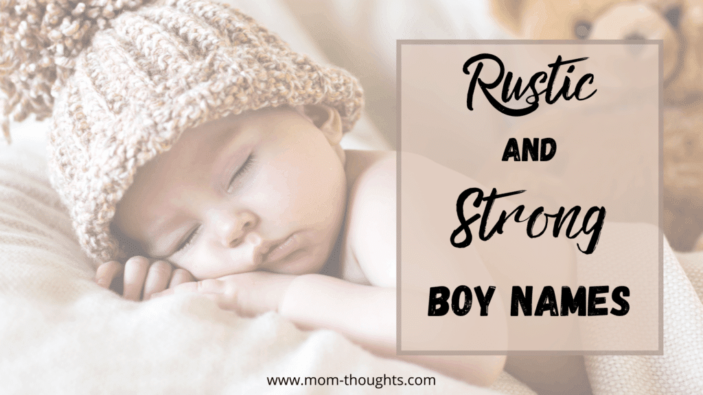 """This image on a post with 55 southern boy names shows a baby boy sleeping. The baby is wearing a cozy tan colored winter hat. There is text overlay that says """"Rustic and Strong Boy Names"""""""