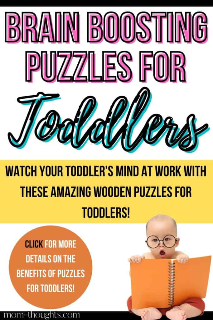 This image links to an article with the BEST wooden puzzles for toddlers that boost their development and fine motor skills. This post also outlines the benefits of puzzles for toddlers!