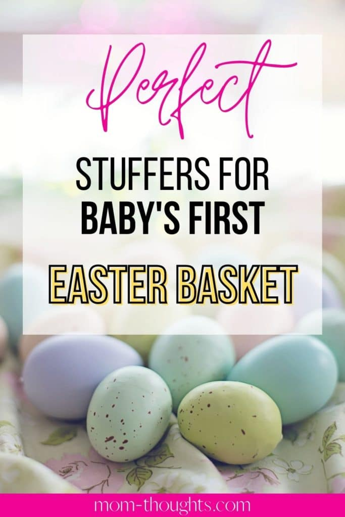This image has pictures of Easter Eggs and links to an article that has amazing ideas for Baby's First Easter Basket.