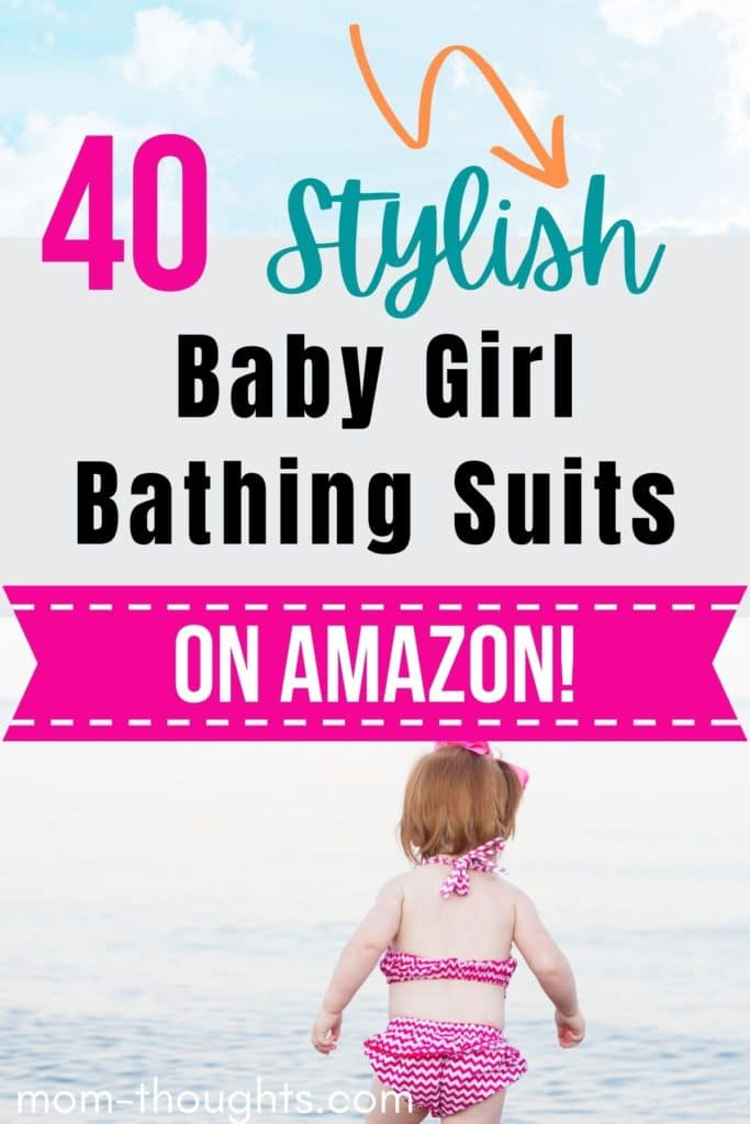 """This image has the sky and clouds on the top of the image. In the middle of the image it has teal, black and pink text that says """"40 stylish baby girl bathing suits"""" There is a pink banner that has white text that says """"On Amazon!"""""""