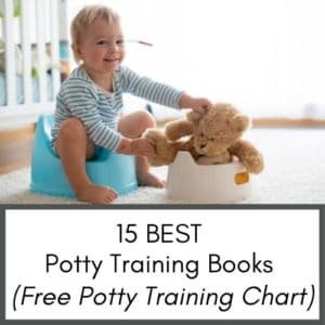 This image shows a toddler sitting on a toddler potty. The toddler is smiling and putting a teddy bear on another toddler potty.