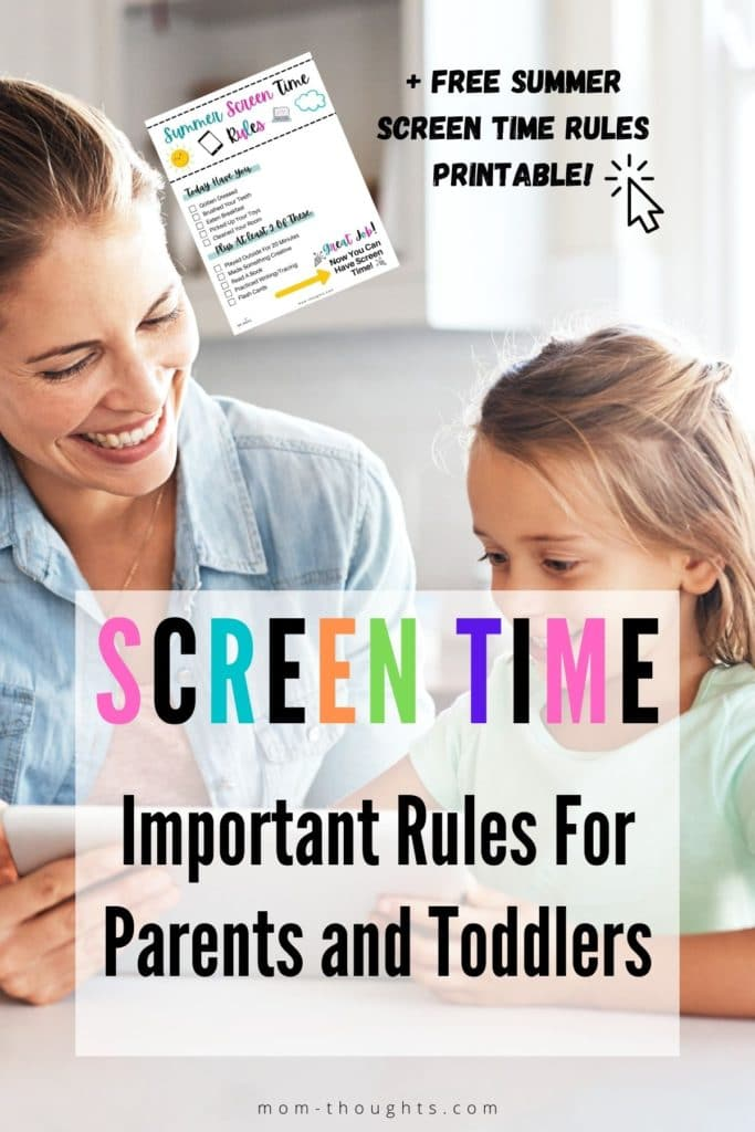 """This image is of a young toddler girl and her mom playing on a tablet smiling. There's colorful text that says """"Screen time"""": and black text that says """"important rules for parents and toddlers. + Free Summer screen time rules printable. There's also an image of of free summer screen time rules printable checklist for toddlers and young kids."""