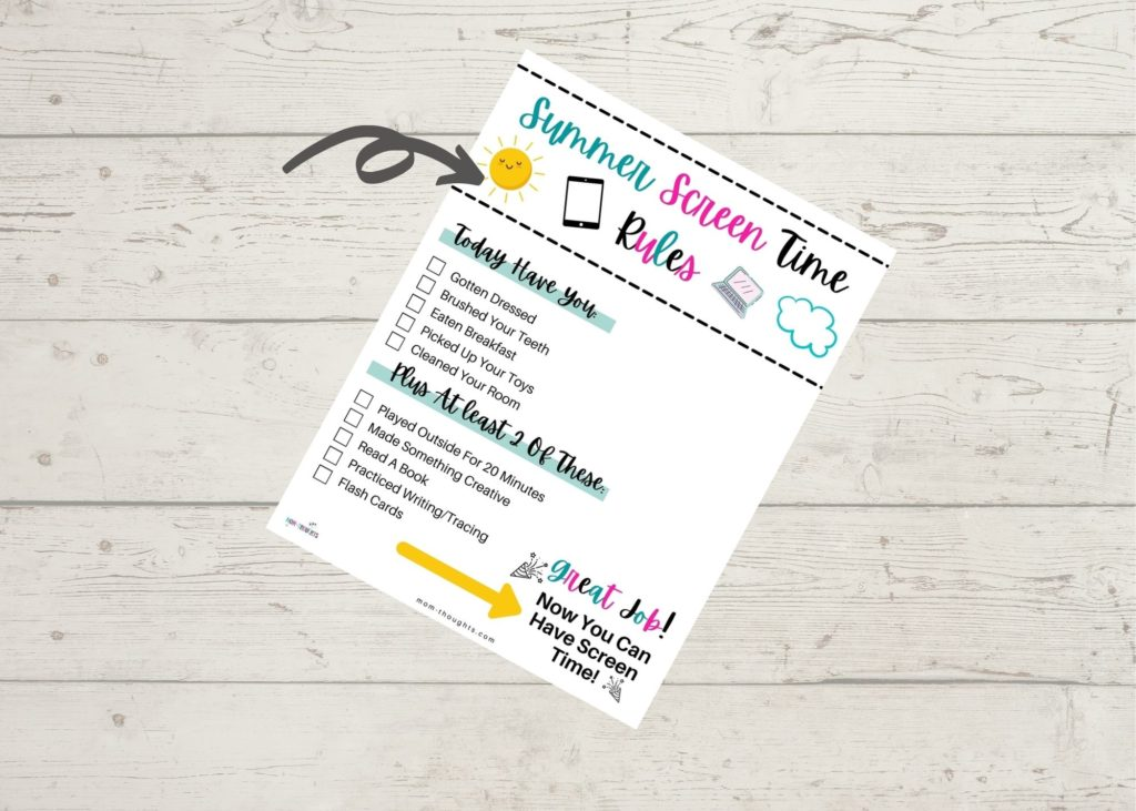 This image is off a free printable for moms regarding summer screen time rules. It's a checklist that requires toddlers to do certain things every day before they can have any screen time.