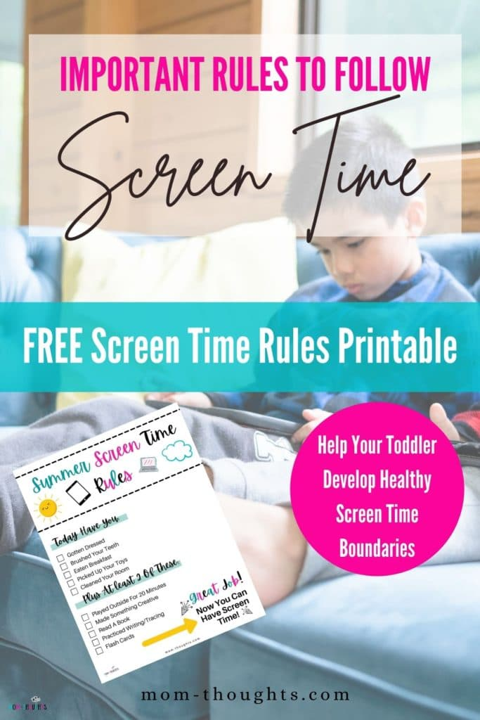 """This image shows a toddler boy sitting on a blue couch playing on a tablet. There is text that says """"Important rules to follow. screen time. Free screen time rules printable. Help your toddler develop healthy screen time boundaries"""". There's also an image of of free summer screen time rules printable checklist for toddlers and young kids."""